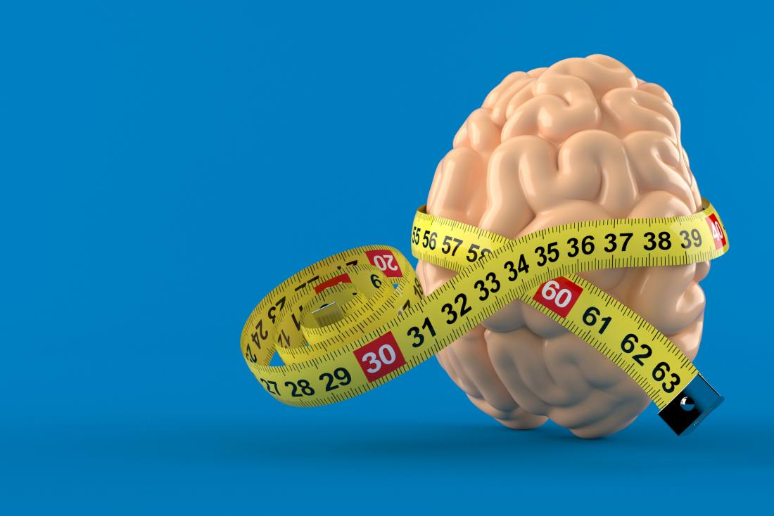 brain with measuring tape