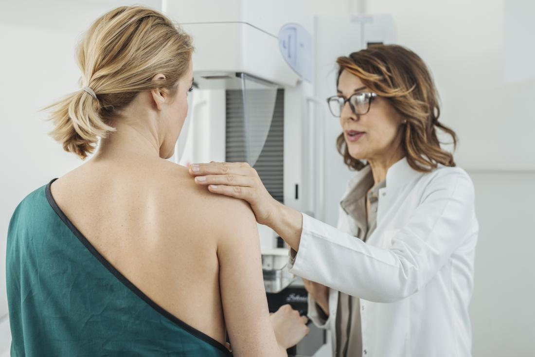 woman getting screened for breast cancer