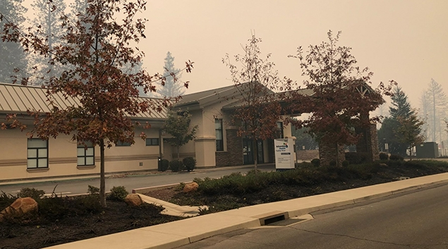 Adventist Feather River Hospital was badly damaged in the Camp Fire, but still stands..