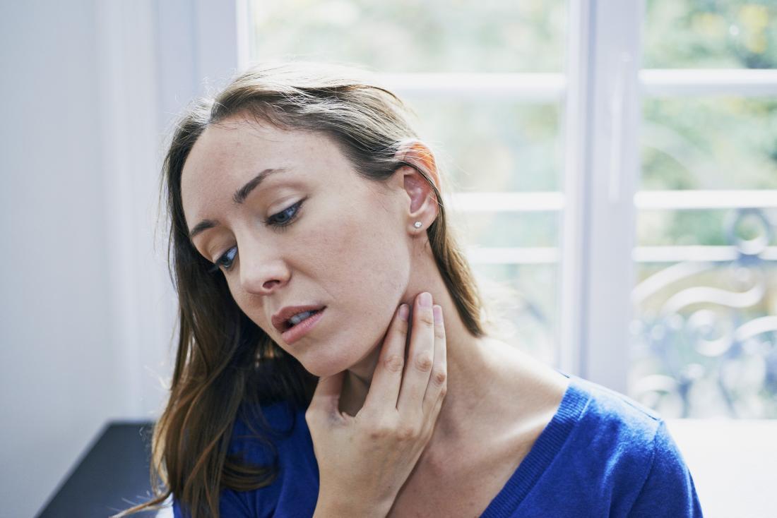 Excess iodine can cause tightness around the neck.