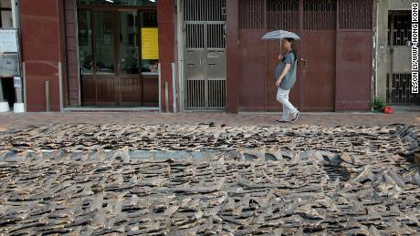 Shark fin with skin, during the drying process, taken in Hong Kong, near Sheung Wan.