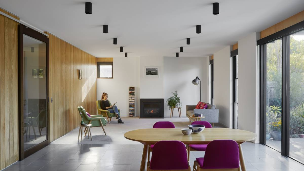 The masonry floors adjacent north facing windows provide excellent thermal mass to absorb and provide heat from northern winter sun.