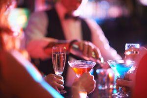 hazy bar scene and martinis