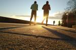 Two men running.
